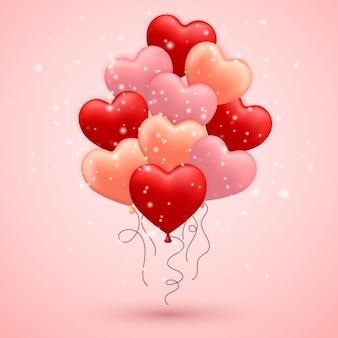 Happy valentijnsdag, rode, roze en oranje ballon in de vorm van een hart met lint