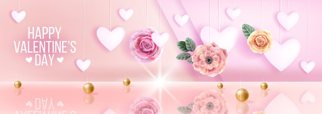 Happy valentijnsdag roze liefde romantische verkoop achtergrond, groet met hartjes, bloemen, rozen. vakantie voorjaar concept, gouden parels, reflecties.