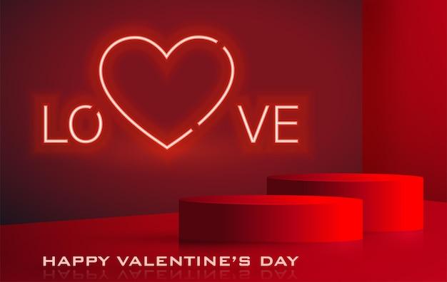 Happy valentijnsdag uitnodigingskaart met rood en gouden hart voor ik hou van je dag op kleur achtergrond voor nachtfeest en evenement