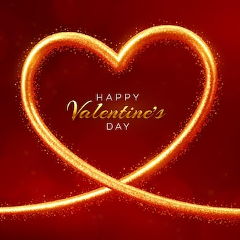 Happy valentijnsdag verkoop banner. glanzende hartvormige gouden frame met rode en roze ballonnen 3d-harten.