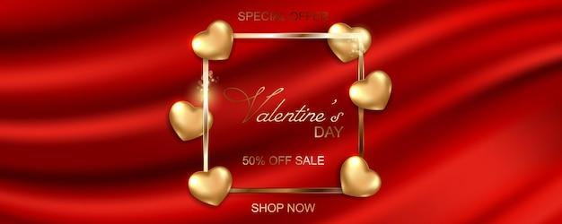 Happy valentijnsdag verkoop banner op zijde stof achtergrond.