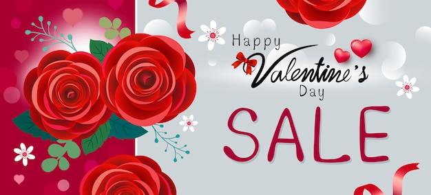 Happy valentijnsdag verkoop ontwerp van rode roze bloemen