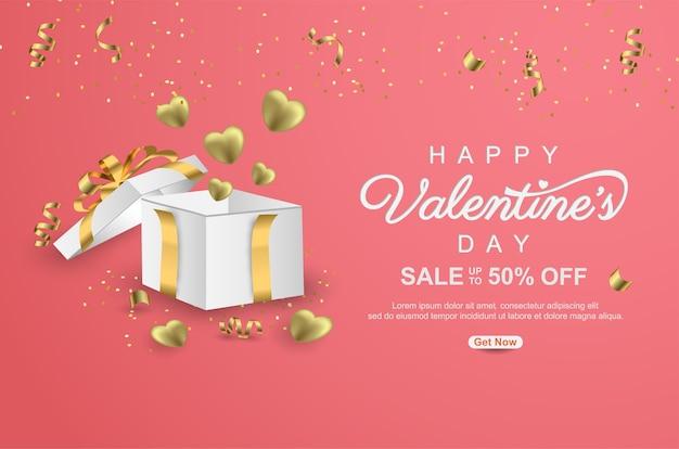 Happy valentijnsdag verkoop promotie banner met realistische geschenkdoos en lint