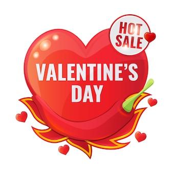 Happy valentijnsdag verkoop rode banner in de vorm van hart met chili peper en tong van vlam.