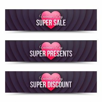 Happy valentijnsdag verkoop webbanners retro ontwerpsjabloon op witte achtergrond