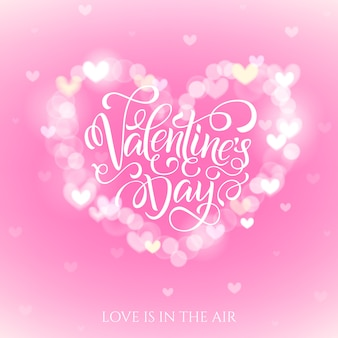 Happy valentijnsdag viering wenskaart versierd met bokeh hart vorm.