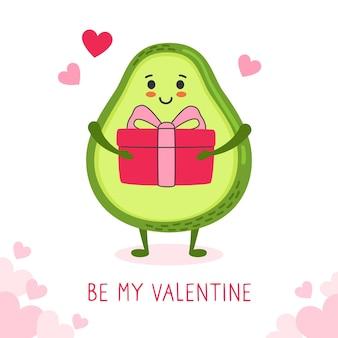 Happy valentijnsdag wenskaart avocado met geschenkdoos