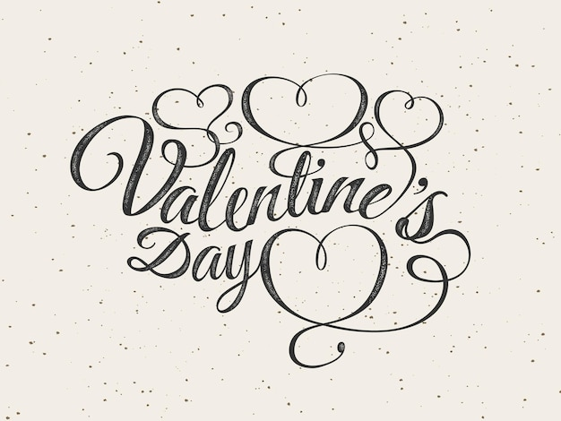 Happy valentijnsdag wenskaart. lettertype samenstelling met hartjes. vector mooie vakantie romantische illustratie. stempel geweven label. behang, flyer, uitnodiging, poster, banner