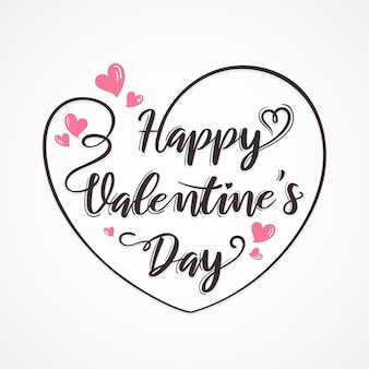 Happy valentijnsdag wenskaart met hart en belettering