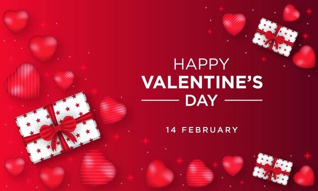 Happy valentijnsdag wenskaart met hart en geschenkdoos