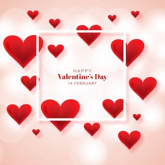 Happy valentijnsdag wenskaart met harten