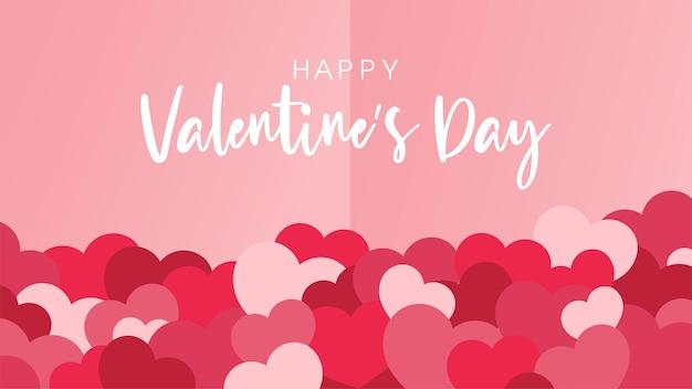 Happy valentijnsdag wenskaart met letters en veel rode harten