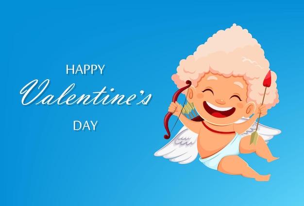 Happy valentijnsdag wenskaart met leuke grappige cupido