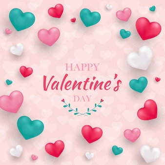 Happy valentijnsdag wenskaart met realistische 3d-harten