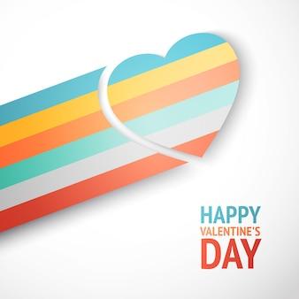Happy valentijnsdag wenskaart met regenboog hart vliegen