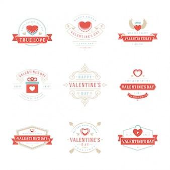 Happy valentijnsdag wenskaarten, etiketten, insignes