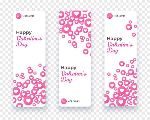 Happy valentine dag banner set, verticale kaartsjabloon met drijvende roze hart pictogrammen voor liefde coupon, cadeaubon, uitnodiging. vector vakantie illustratie met hart confetti.