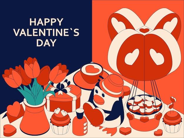 Happy valentine day achtergrond met schattige isometrische elementen. wenskaart en liefdesjabloon