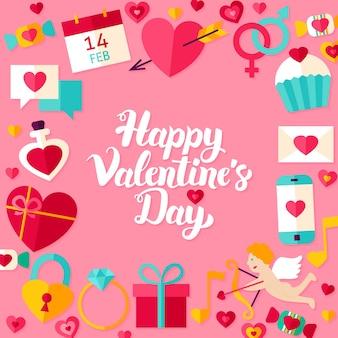 Happy valentine day belettering briefkaart. vectorillustratie van moderne kalligrafie liefde vakantie concept.