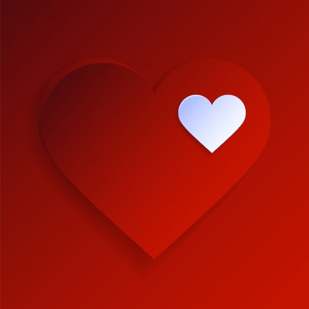 Happy valentine day-groetkaartachtergrond met reusachtig rood hart en uiterst kleine
