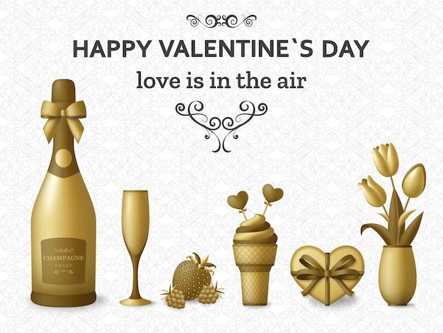 Happy valentine day met champagne, cadeau, bloemen en bessen. wenskaart en liefdesjabloon
