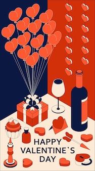 Happy valentine day met schattige isometrische elementen. wenskaart en liefdesjabloon