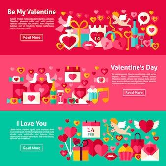 Happy valentine day webbanners. vlakke stijl vectorillustratie voor website header. liefde objecten.
