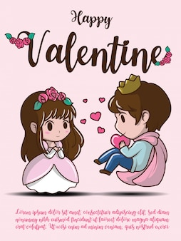 Happy valentine-kaart met leuk meisje en jongensbeeldverhaal.