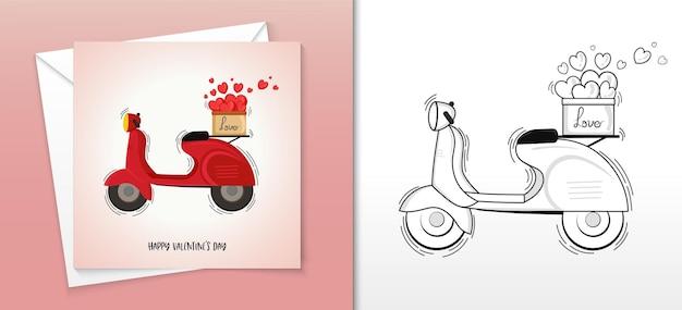 Happy valentine kaart ontwerp met vintage motor mand vol harten illustratie