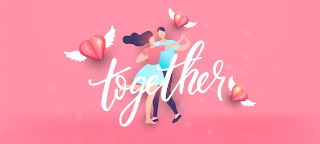Happy valentine's day achtergrond in minimale trendy stijl met letters.