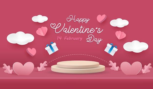 Happy valentine's day achtergrond. love scene studio-productdisplay in roze met schattige elementen.