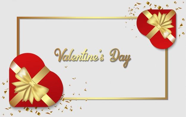 Happy valentine's day achtergrond. met illustratie van een geschenkdoos in de vorm van een liefde.
