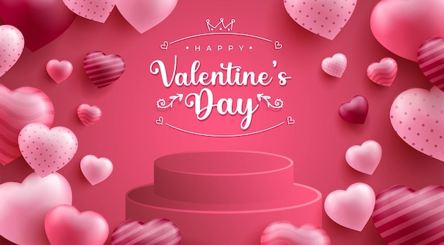 Happy valentine's day achtergrond met realistische haard of liefde vorm en 3d-podium
