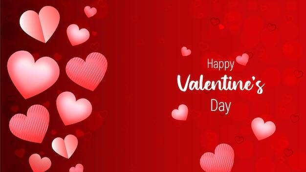 Happy valentine's day achtergrond of banner met zoete hartjes op roze & rood.