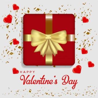 Happy valentine's day achtergrond. realistisch 3d hart met illustratie van een liefde-vormige geschenkdoos.