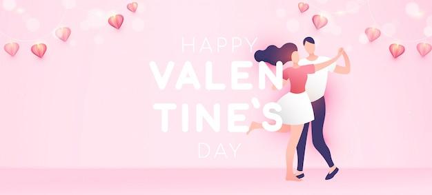 Happy valentine's day banner achtergrond in minimale trendy stijl met kopie ruimte voor tekst.