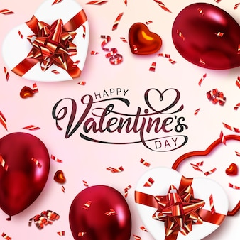 Happy valentine's day banner. hand getrokken belettering.