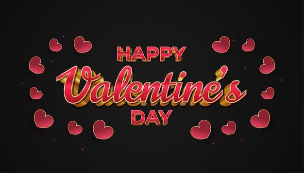 Happy valentine's day banner met 3d-rode en gouden tekst, en rood hart op zwarte achtergrond