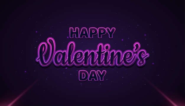 Happy valentine's day banner met gloeiende tekst op donkere achtergrond