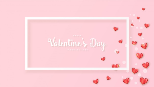 Happy valentine's day banner met realistische harten