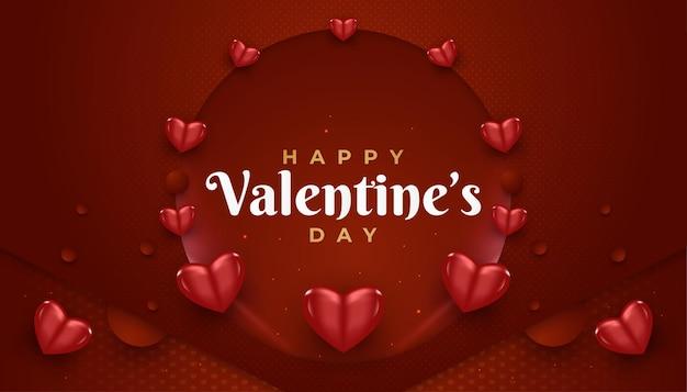 Happy valentine's day banner met rode harten verspreid over de achtergrond van papier