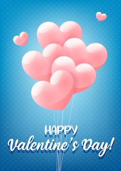 Happy valentine's day blauwe felicitatie wenskaart