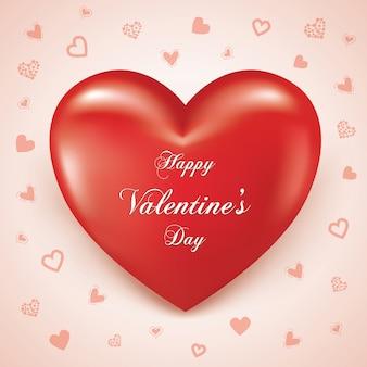 Happy valentine's day drijvende hart realistische 3d,
