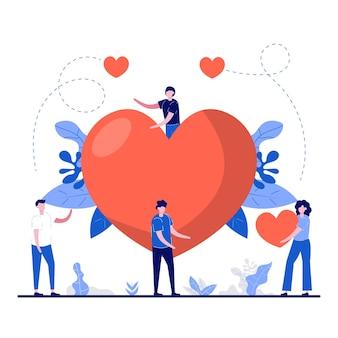 Happy valentine's day festival-concept met een klein karakter en een enorm hartsymbool.