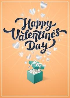 Happy valentine's day gele groet tekst illustratie