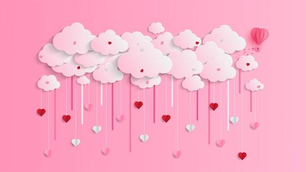 Happy valentine's day groet banner in papercut realistische stijl. papieren harten en wolken
