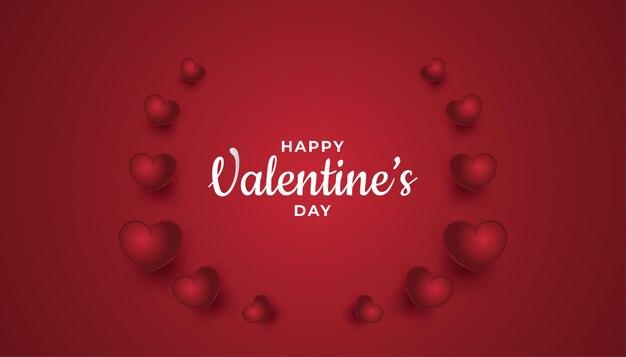 Happy valentine's day groet banner met hartjes op rode achtergrond