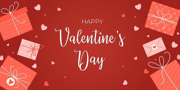 Happy valentine's day groet ontwerp met geschenken en harten