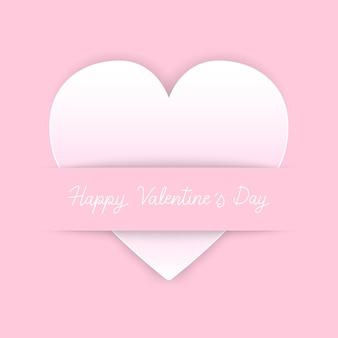 Happy valentine s day hand belettering met hart pictogram op roze achtergrond