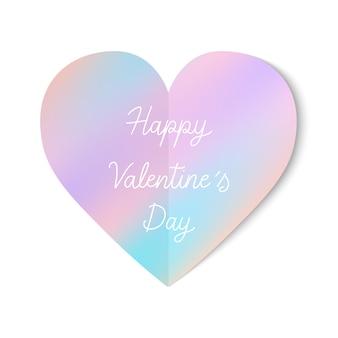 Happy valentine s day hand belettering met pastel hart pictogram